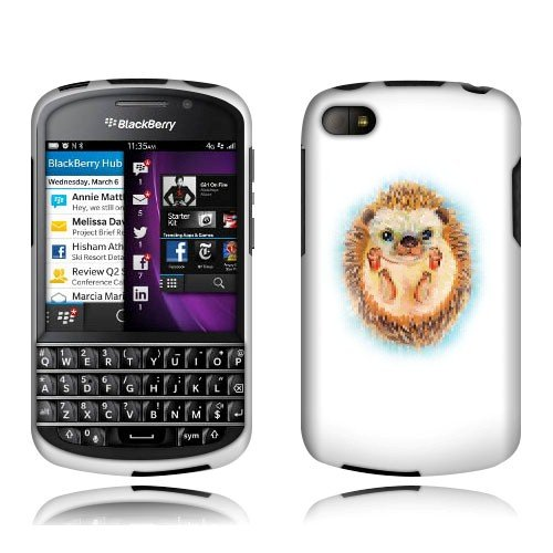 Fincibo (Tm) Blackberry Q10 Protector Cover Case Snap On Hard Plastic - Hedgehog Baby, Front And Back