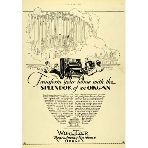 Amazon.com: 1929 Ad Wurlitzer Organ Musical Instrument Music ...