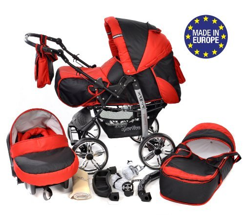 3-in-1 Travel System with Baby Pram, Car Seat, Pushchair & Accessories, Black & Red