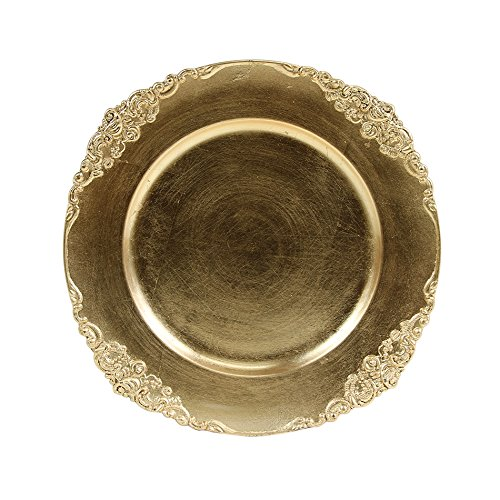 Koyal Wholesale Vintage Charger Plate Gold Pack Of 4