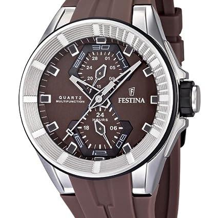 Festina F16611/2 - Reloj analógico de cuarzo para hombre con correa de caucho, color marrón