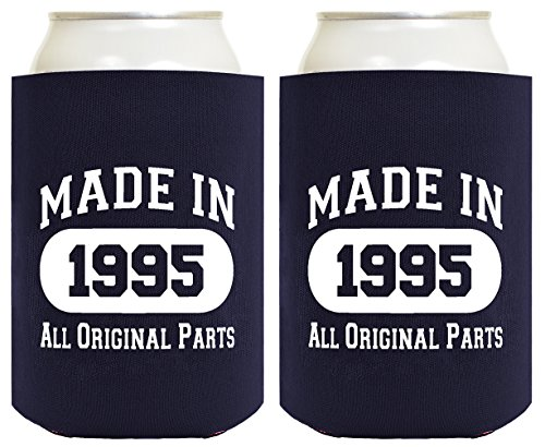 21st Birthday Gift Coolie Made 1995 Can Coolers Coolies 2 Pack Navy