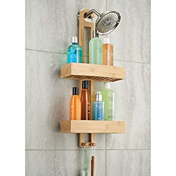 mDesign Bathroom Shower Caddy for Shampoo, Conditioner, Soap - Natural Bamboo