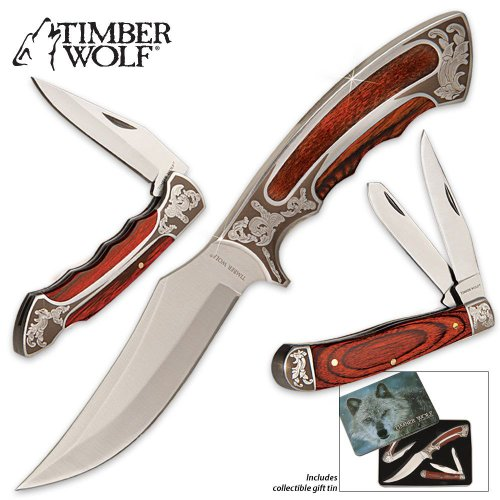 Timber Wolf Knife Set With Gift Tin