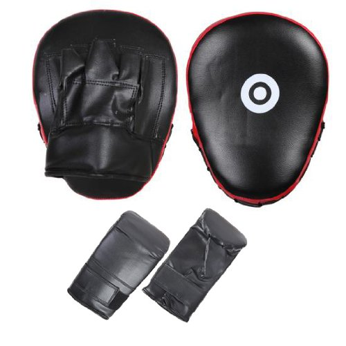 FG BLK/RED Focus pad and boxing mitts hook and jab martial arts training kickboxing punching equipment