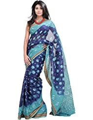 Exotic India Blue And Green Shaded Bandhani Tie-Dye Saree From Rajasthan - Blue