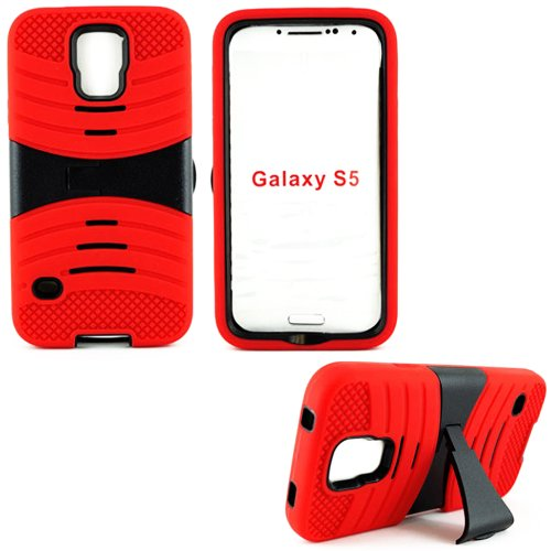 Mylife (Tm) Vibrant Scarlet Red And Ultra Ninja Black - Shockproof Survivor Series (Built In Kickstand + Easy Grip Ridges) 2 Piece + 2 Layer Case For New Galaxy S5 (5G) Smartphone By Samsung (Internal Flex Silicone Bumper Gel + Internal 2 Piece Rubberized