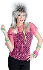 Neon Mesh 80's Top - Adult Fancy Dress - Pink