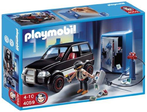 Imagen 1 de Playmobil Policía - Ladrón con caja fuerte y coche de huida (626564)