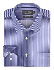 2in Longer Performance Non-Iron Pure Cotton Bold Striped Shirt