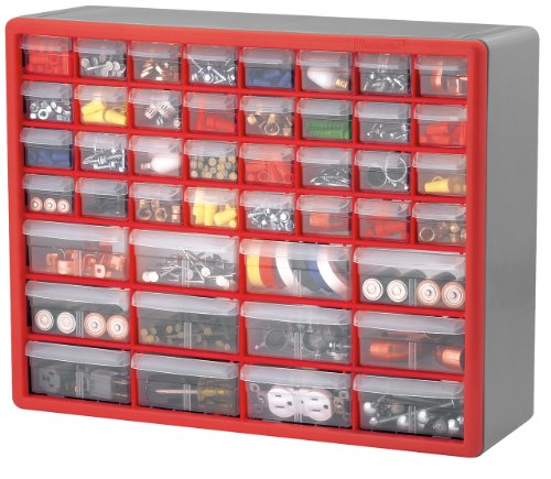 Akro Mils 10744 44-Drawer Hardware and Craft Cabinet, Red and Gray (Nut Bolt Storage compare prices)
