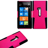 "myLife (TM) Rose Pink and Panther Black Perforated Mesh Series (2 Layer Neo Hybrid) Slim Armor Case for the Nokia Lumia 920 920.2 920T and 920 4G Camera Smartphone by Microsoft (External Rubberized Hard Shell Mesh Piece + Internal Soft Silicone Flexible Gel + Lifetime Warranty + Sealed in myLife Authorized Packaging) ""ADDITIONAL DETAILS: This mesh armor case was designed exclusively for the Nokia Lumia 920 and comes with easy grip gel that allows the case to be gripped firmly in your hand yet slide easily in and out of your pocket without sticking to the lining."""