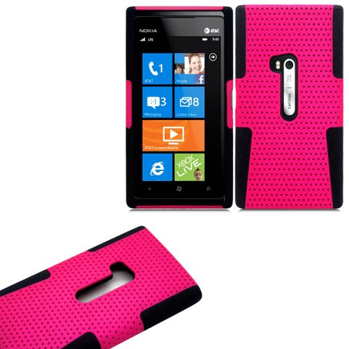 Mylife (Tm) Rose Pink And Panther Black Perforated Mesh Series (2 Layer Neo Hybrid) Slim Armor Case For The Nokia Lumia 920, 920.2, 920T And 920 4G Camera Smartphone By Microsoft (External Rubberized Hard Shell Mesh Piece + Internal Soft Silicone Flexible