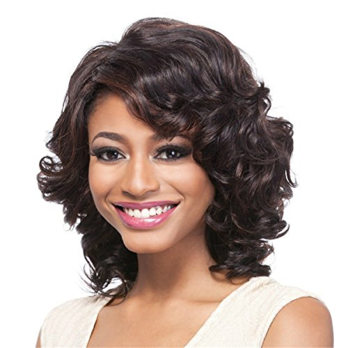 YX Short Curly Hair Wig for Black Women African american Heat Resistant Synthetic Hair Wigs