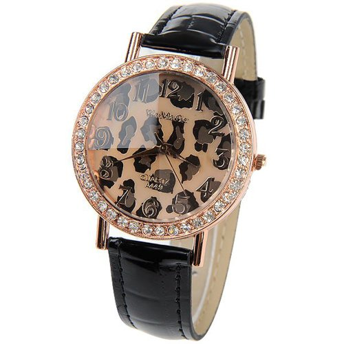 A449 Fashion Leopard Print & Round Disc Style Female Quartz Wrist Watch With Rhinestone Black Swwm3-99376