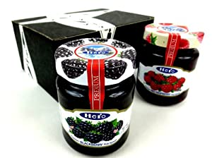 Hero Premium Fruit Spreads 2-Flavor Variety: One 12 oz Jar Each of Blackberry and Raspberry Fruit Spreads in a Gift Box