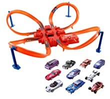 Hot Wheels Criss Cross Crash Track Set With 10 Car Pack Bundle