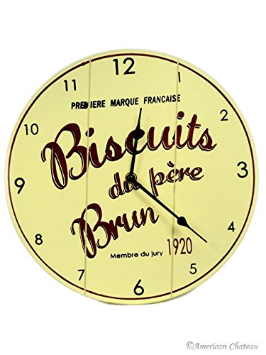 Wall Vintage Kitchen Clock Wood Deco French Bistro Cafe Decor Biscuits