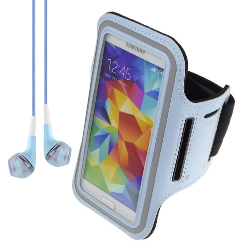 Deluxe Good Quality Workout Running Armband For Samsung Galaxy S4 And Samsung S3 (Lightblue) + Blue Vangoddy Headphones With Mic