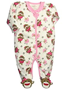 Pink Sock Monkey Baby Girl Footie Pajama's by Baby Starters