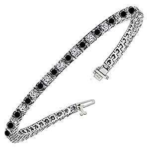 4.50 CT Brilliant Cut White & Black Diamond Tennis Bracelet in 14k White Gold (G-color/SI1-clarity)