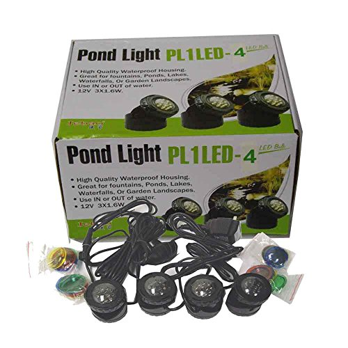 SUBMERSIBLE 4 LED POND LIGHT SET FOR UNDERWATER FOUNTAIN FISH POND WATER GARDEN with Day and Night Sensor