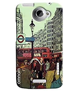 Omnam London City Cartoon Printed Designer Back Cover Case For HTC One X