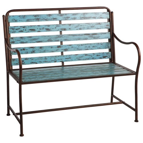 Midwest CBK Distressed Turquoise Slatted Bench