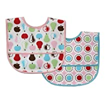 Luvable Friends Baby Bib With Waterproof Backing, Pink, 2-Count