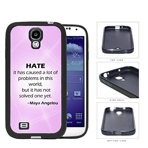"""Maya Angelou """"Hate"""" Quote With Pink Gradient And Flares Samsung Galaxy S4 I9500 Rubber Silicone Tpu Cell Phone Case"""