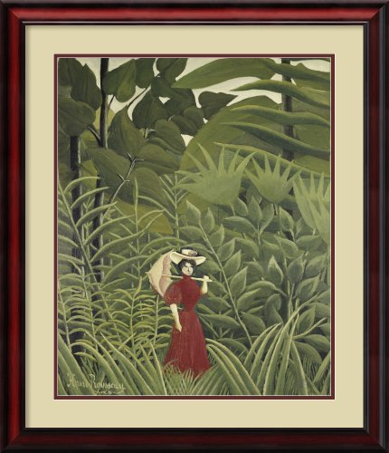 Woman with an Umbrella in an Exotic Forest Framed Print by Henri Rousseau at Amazon.com