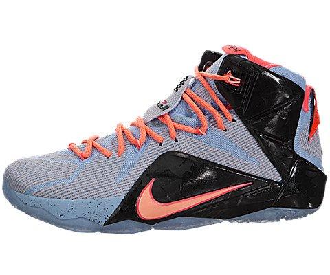 Nike Men's Lebron XII Aluminum/Sunset Glow/Ht Lv/Blk Basketball Shoe 9.5 Men US (All Lebron James Shoes compare prices)