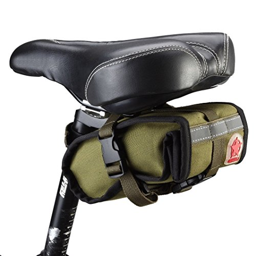 Bicycle Folding bike Cycling Seat Bag Road Bicycle Bike Personalized Canvas Saddle Bag Basket Seat Bag-Army green (Cycling Bags compare prices)