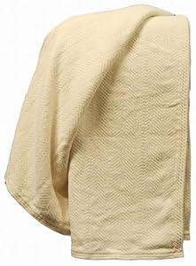 Organic Cotton Chenille Herringbone Throw -Natural