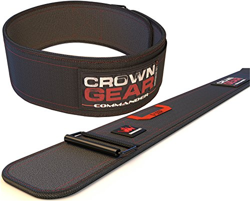 Weightlifting Belt for Gym Fitness Bodybuilding - Crown Gear COMMANDER 4-Inch Weight Lifting Belt for Back Support (Commander, XS)