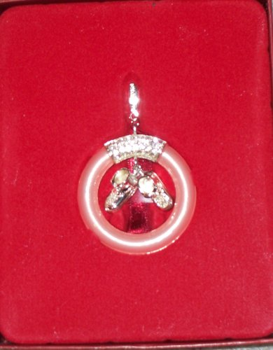 Lenox Porcelain Collectible Jeweled Pink Baby Teething Ring Silver Plated Christmas Ornament Nib! front-892345