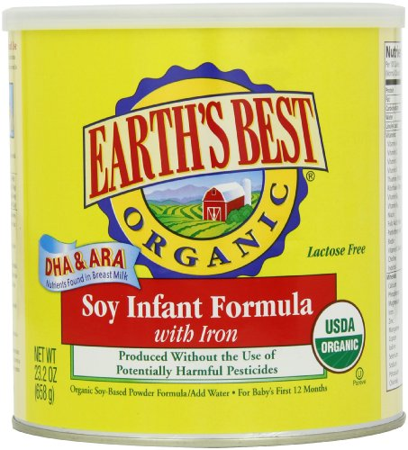 Earth's Best Organic Soy Infant Formula with Iron, ARA, & DHA, 23.2- Ounce Can