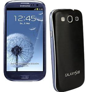 xubix Full Metal Akkudeckel für Samsung i9300 Galaxy S3 Schwarz Black brushed Metall Aluminium mit dezent weißem Rand