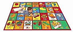 MYBECCA\'s Nursery Kids Rug ABC FRUIT AND FOOD Area Rug 5 ft X 7 ft (Approx.)