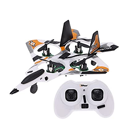 Top Race® 5 Inch Micro F22 Stunt Fighter Jet, 4 Channel RC Remote Control Quad Copter Drone TR-MQ4 (Colors Vary)