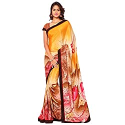 Senorita Fashion Yellow Silk Crepe Printed Saree