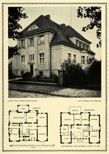 1913-print-house-kuhne-potsdam-floor-plan-architecture-paul-mebes-building-original-halftone-print