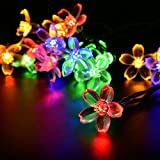 LightsEtc 15.7ft 20LED Multi Color Solar Blossom String Lights Outdoor Flower String Lights Christmas Decorative Fairy Lights for Christmas - Holiday - Party - Indoor - Outdoor - Houses - Garden