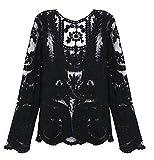 Ezfit Women's Crochet Lace Long Sleeve Embroidery Slim Tops Shirt Blouse