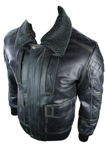Mens Real Hide Leather Jacket Bomber Pilot Aviator Style Removable Fur Collar