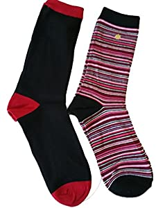 Set of 2 Kate Spade Women's Trouser Socks Black Red Stripes from kate