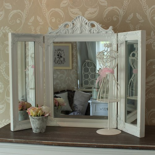 white-ornate-dressing-table-triple-mirror