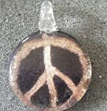 Murano Style Peace Symbol Pendant + FREE RIBBON NECKLACE+ GIFT BOX