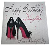 White cotton cards WB51 Shoes Happy Birthday Daughter Handmade Birthday Card, White