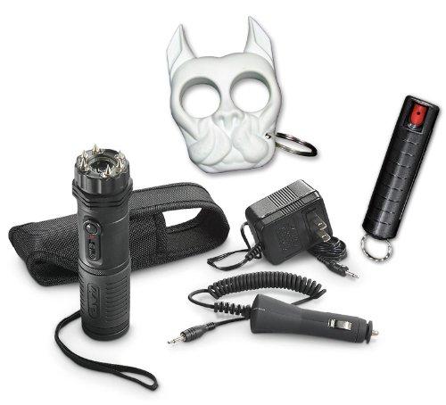 Home And Away Bundle: Zap Extreme Flashlight Stun Gun, White Brutus The Pitbull (Bulldog) Keyring And Black Inferno Pepper Spray Foam Keychain Unit Combo - Lot Of 3 Pieces